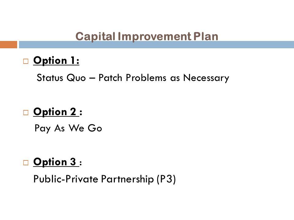 Capital Improvement Plan  Option 3 – Public-Private Partnership (P3) – continued.