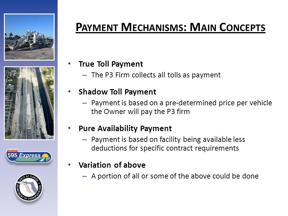 True Toll Payment – The P3 Firm collects all tolls as payment Shadow Toll Payment – Payment is based on a pre-determined price per vehicle the Owner will pay the P3 firm Pure Availability Payment – Payment is based on facility being available less deductions for specific contract requirements Variation of above – A portion of all or some of the above could be done P AYMENT M ECHANISMS : M AIN C ONCEPTS