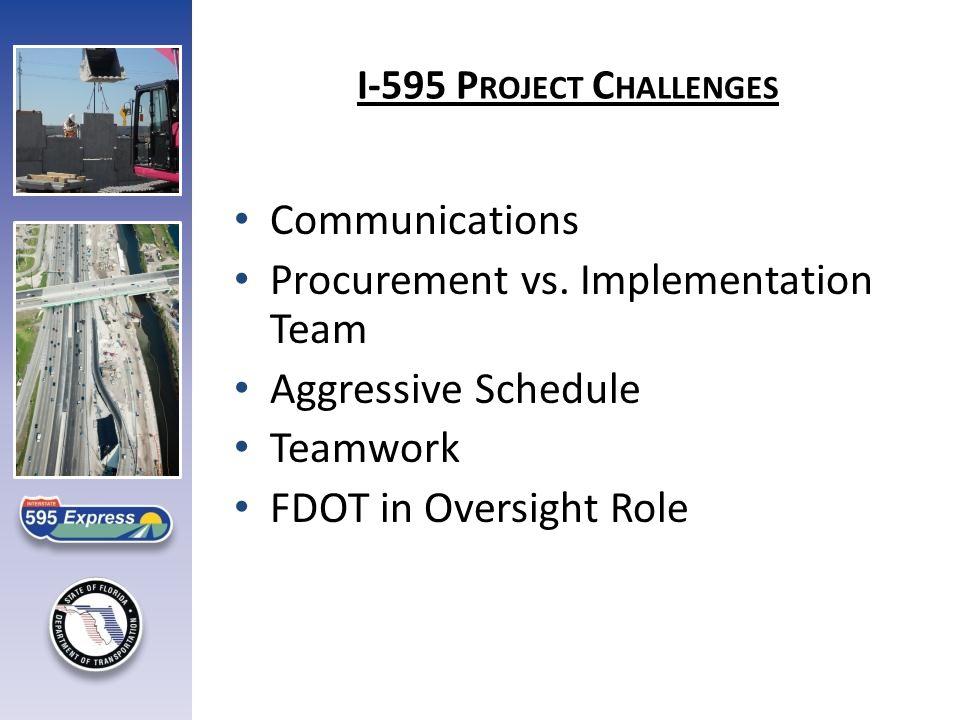 I-595 P ROJECT C HALLENGES Communications Procurement vs.