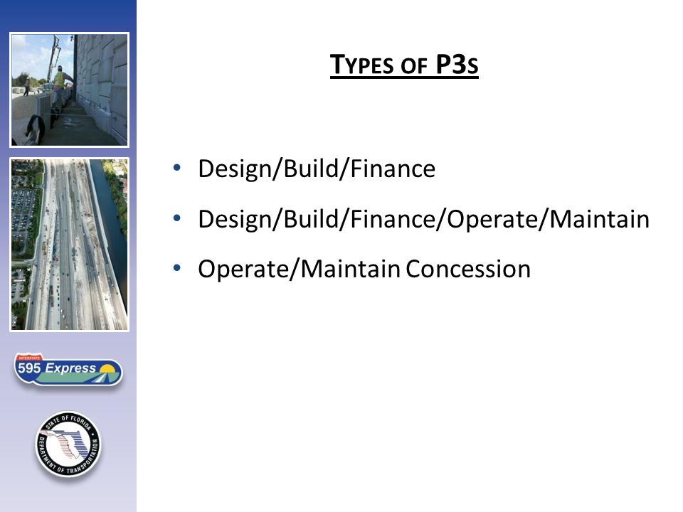 Design/Build/Finance Design/Build/Finance/Operate/Maintain Operate/Maintain Concession T YPES OF P3 S