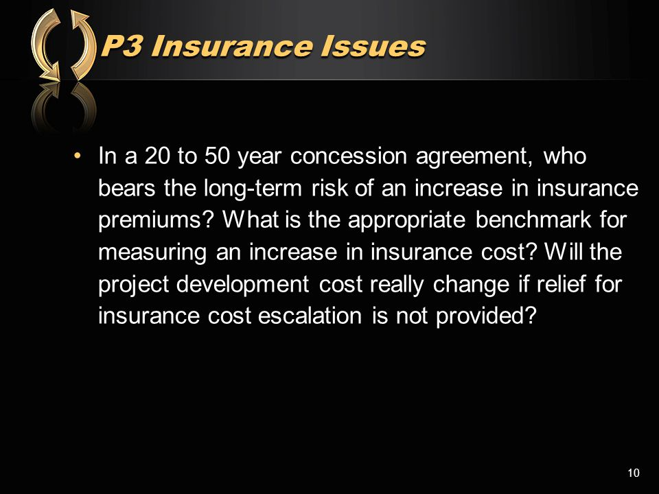 P3 Insurance Issues In a 20 to 50 year concession agreement, who bears the long-term risk of an increase in insurance premiums? What is the appropriat
