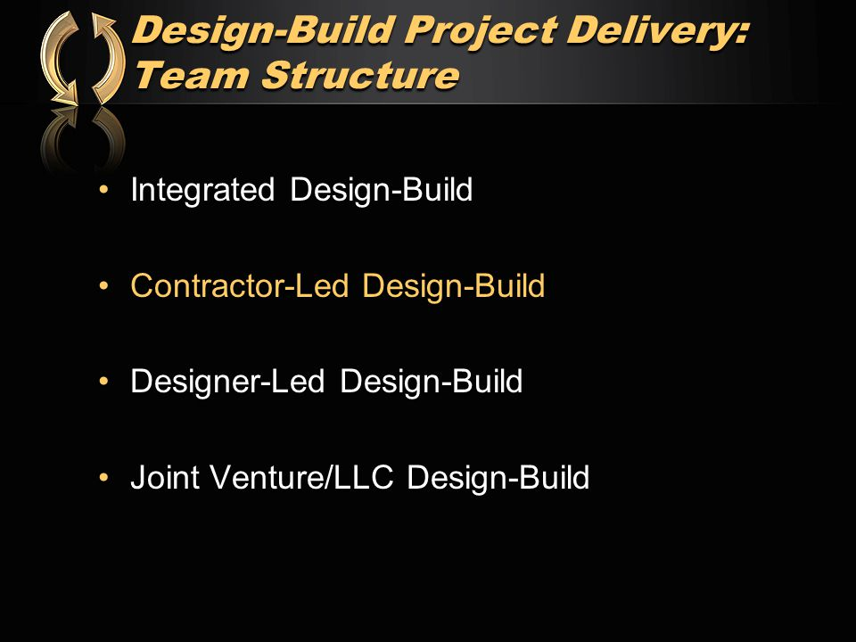 Design-Build Project Delivery: Team Structure Integrated Design-BuildIntegrated Design-Build Contractor-Led Design-BuildContractor-Led Design-Build Designer-Led Design-BuildDesigner-Led Design-Build Joint Venture/LLC Design-BuildJoint Venture/LLC Design-Build