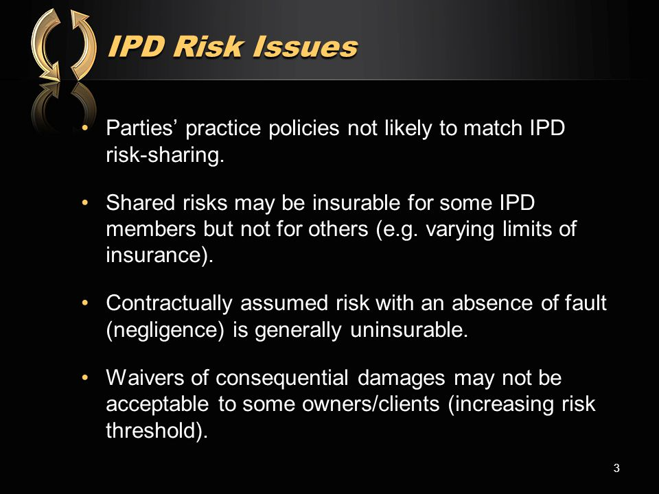 IPD Risk Issues Parties' practice policies not likely to match IPD risk-sharing.Parties' practice policies not likely to match IPD risk-sharing. Share