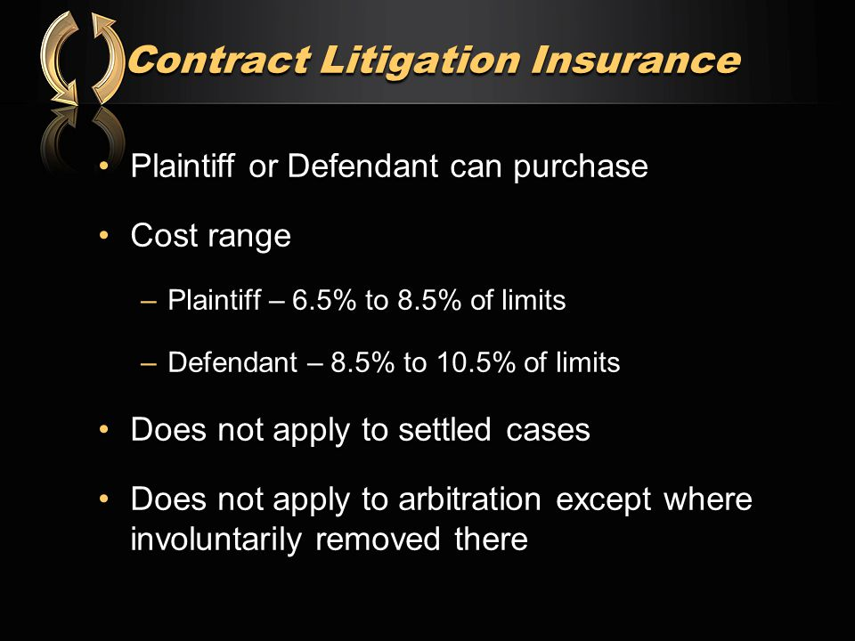 Contract Litigation Insurance Plaintiff or Defendant can purchasePlaintiff or Defendant can purchase Cost rangeCost range –Plaintiff – 6.5% to 8.5% of limits –Defendant – 8.5% to 10.5% of limits Does not apply to settled casesDoes not apply to settled cases Does not apply to arbitration except where involuntarily removed thereDoes not apply to arbitration except where involuntarily removed there