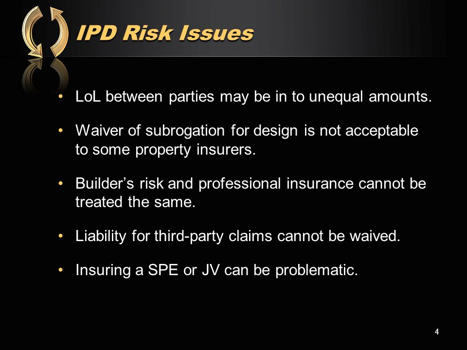 Insurance for Relational Projects Most IPD Agreements treat liability insurance as extraneous to contractual risk sharing, risk allocation (indemnification and limitation liability) and liability waiver provisions.Most IPD Agreements treat liability insurance as extraneous to contractual risk sharing, risk allocation (indemnification and limitation liability) and liability waiver provisions.