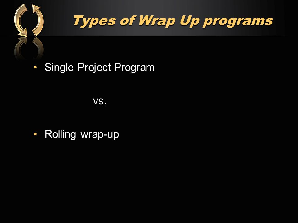 Types of Wrap Up programs Single Project ProgramSingle Project Programvs. Rolling wrap-upRolling wrap-up