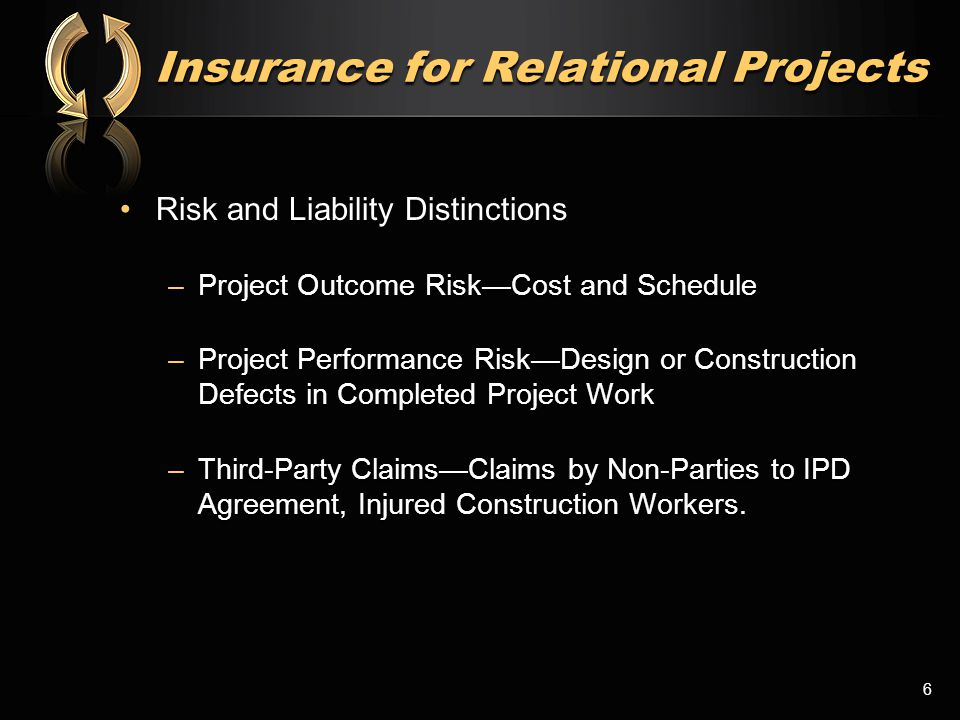 IPD Integration: Professional Liability Example 7 Project-Specific policies cover from the beginning of design through completion of the Project, plus 5 years or more of Completed Operations - Policy Limit (millions) Delivery Team Performance Contingency: e.g.