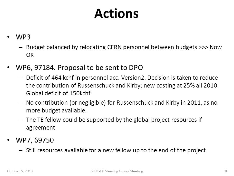 Actions WP3 – Budget balanced by relocating CERN personnel between budgets >>> Now OK WP6,