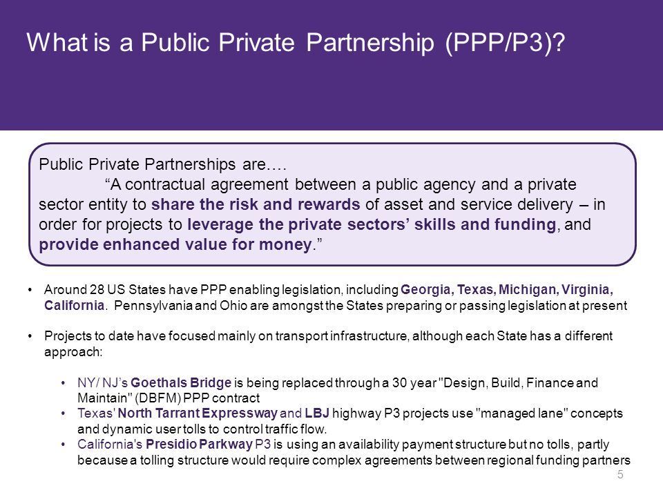 What is a Public Private Partnership (PPP/P3). Public Private Partnerships are….