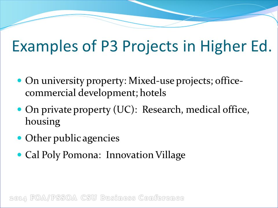 Examples of P3 Projects in Higher Ed.