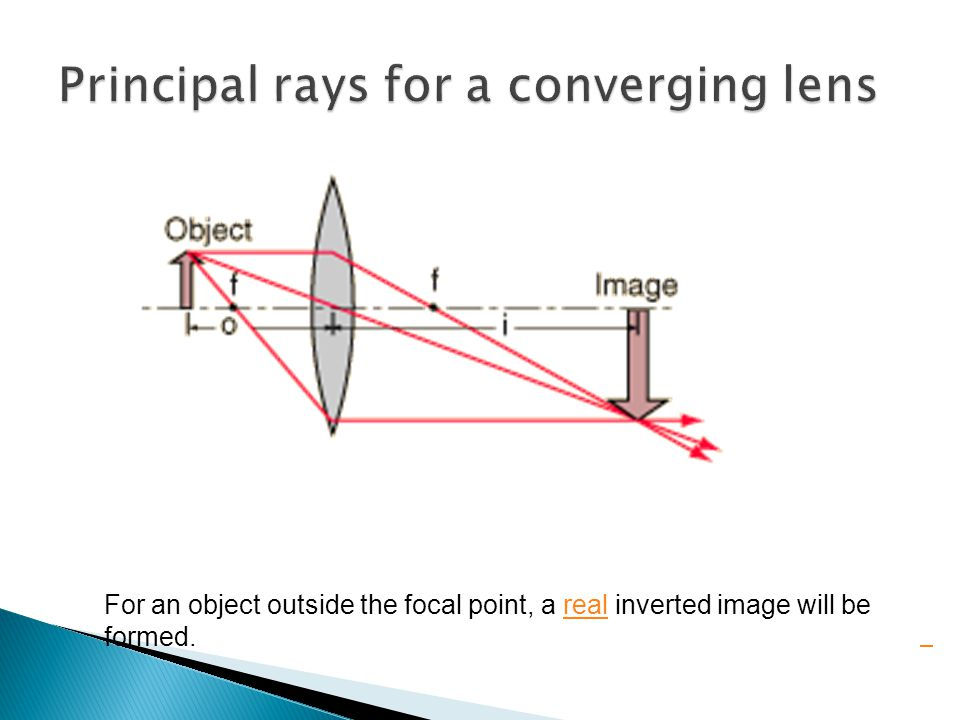 For an object outside the focal point, a real inverted image will be formed.real