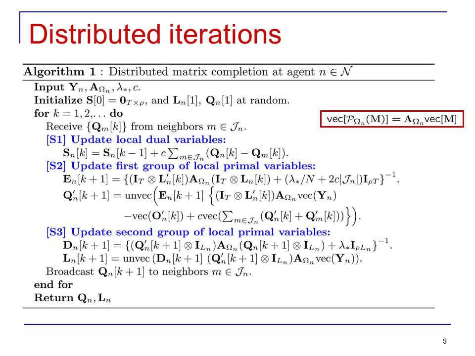 8 8 Distributed iterations