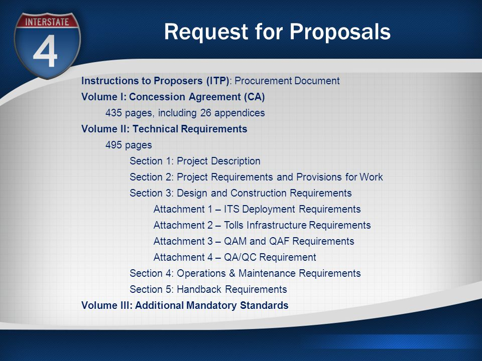 Request for Proposals Instructions to Proposers (ITP): Procurement Document Volume I: Concession Agreement (CA) 435 pages, including 26 appendices Vol