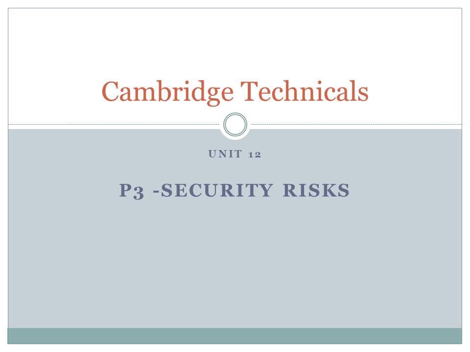 UNIT 12 P3 -SECURITY RISKS Cambridge Technicals