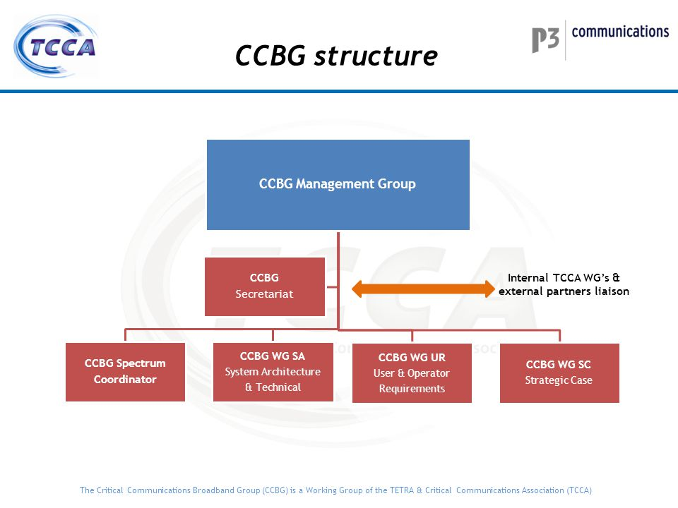 The Critical Communications Broadband Group (CCBG) is a Working Group of the TETRA & Critical Communications Association (TCCA) CCBG external relation