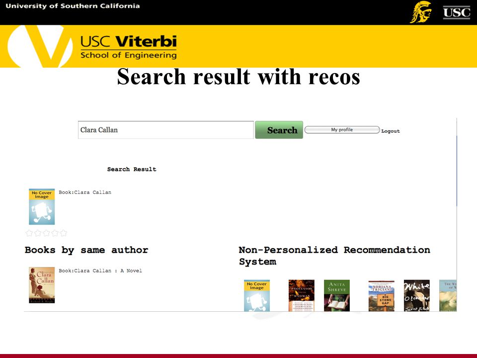 Search result with recos