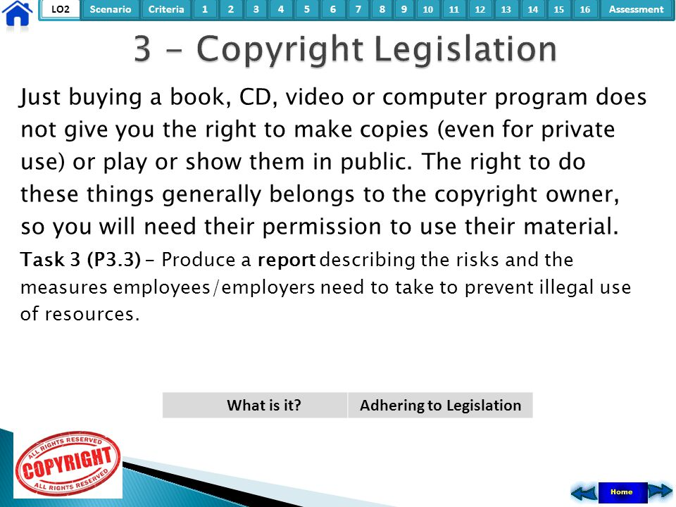 LO2ScenarioCriteria2Assessment3415678 9 10111315121416 Just buying a book, CD, video or computer program does not give you the right to make copies (e