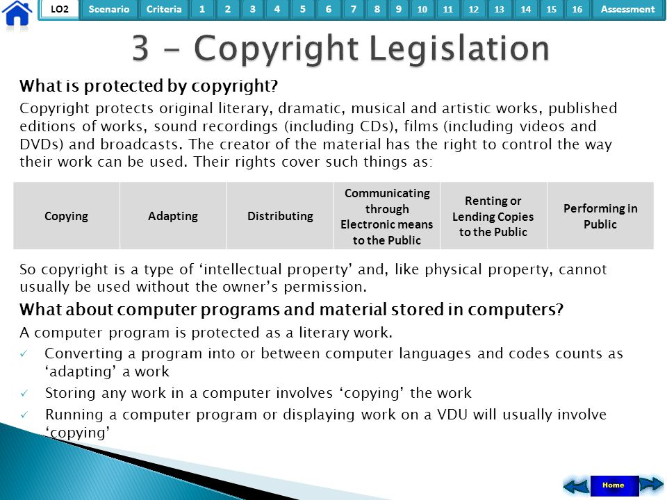 LO2ScenarioCriteria2Assessment3415678 9 10111315121416 What is protected by copyright? Copyright protects original literary, dramatic, musical and art