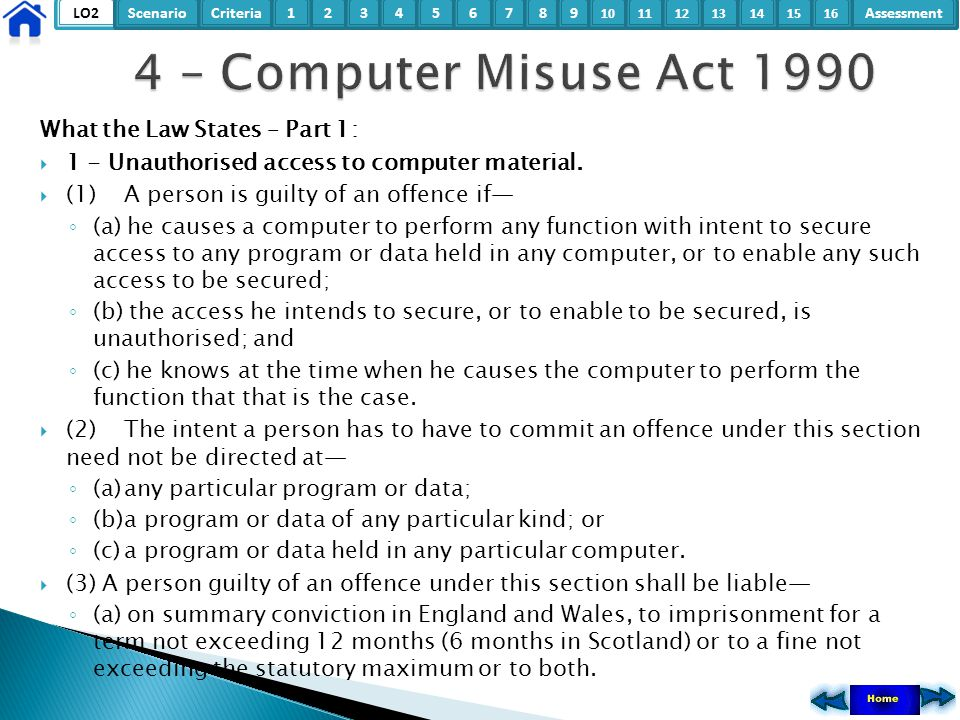 LO2ScenarioCriteria2Assessment3415678 9 10111315121416 What the Law States – Part 1:  1 - Unauthorised access to computer material.  (1)A person is