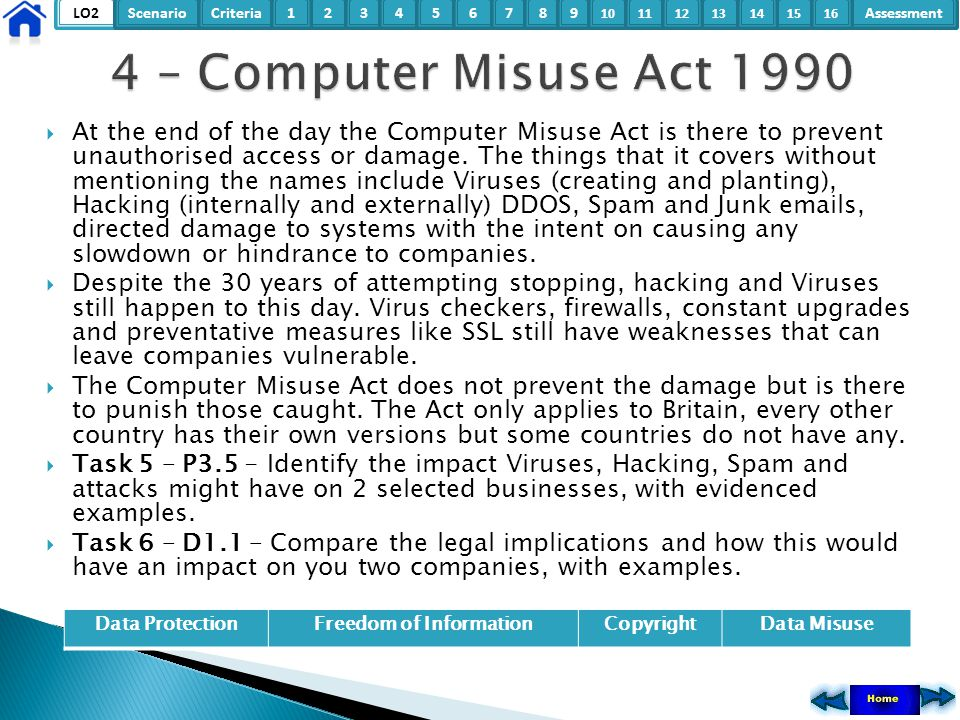 LO2ScenarioCriteria2Assessment3415678 9 10111315121416  At the end of the day the Computer Misuse Act is there to prevent unauthorised access or dama