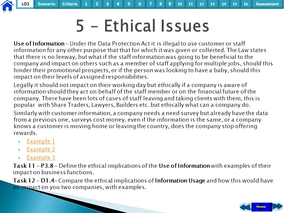 LO2ScenarioCriteria2Assessment3415678 9 10111315121416 Use of Information – Under the Data Protection Act it is illegal to use customer or staff infor