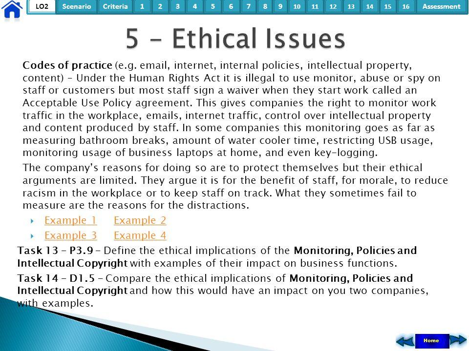 LO2ScenarioCriteria2Assessment3415678 9 10111315121416 Codes of practice (e.g. email, internet, internal policies, intellectual property, content) – U