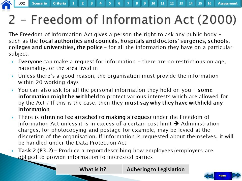 LO2ScenarioCriteria2Assessment3415678 9 10111315121416 Just buying a book, CD, video or computer program does not give you the right to make copies (even for private use) or play or show them in public.