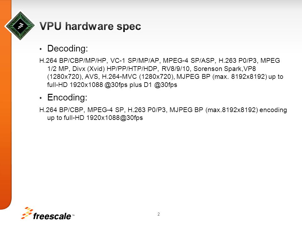 TM 3 VPU lib VPU driver VPU OMX Dec/Enc Component Stagefright Player/Recoder GM Player/Recoder Kernel User Space Android Default module Freescale module