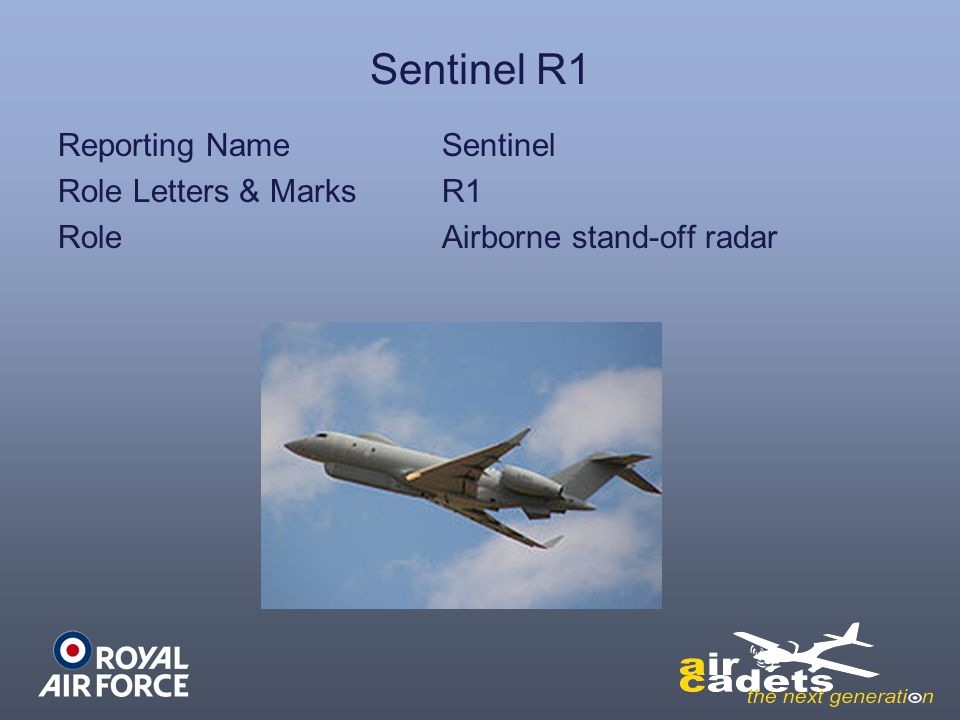 Sentinel R1 Reporting NameSentinel Role Letters & MarksR1 RoleAirborne stand-off radar