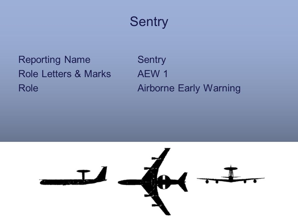 Sentry Reporting NameSentry Role Letters & MarksAEW 1 RoleAirborne Early Warning