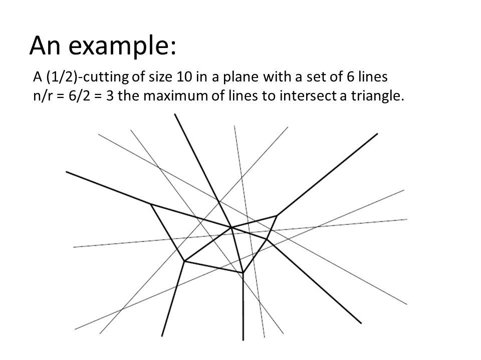 An example: A (1/2)-cutting of size 10 in a plane with a set of 6 lines n/r = 6/2 = 3 the maximum of lines to intersect a triangle.