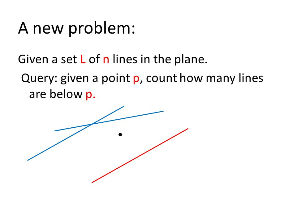 A new problem: Given a set L of n lines in the plane.