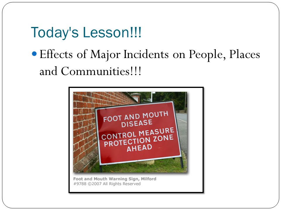 Major Incidents Whenever you have a major incident there are lots of people affected by it.