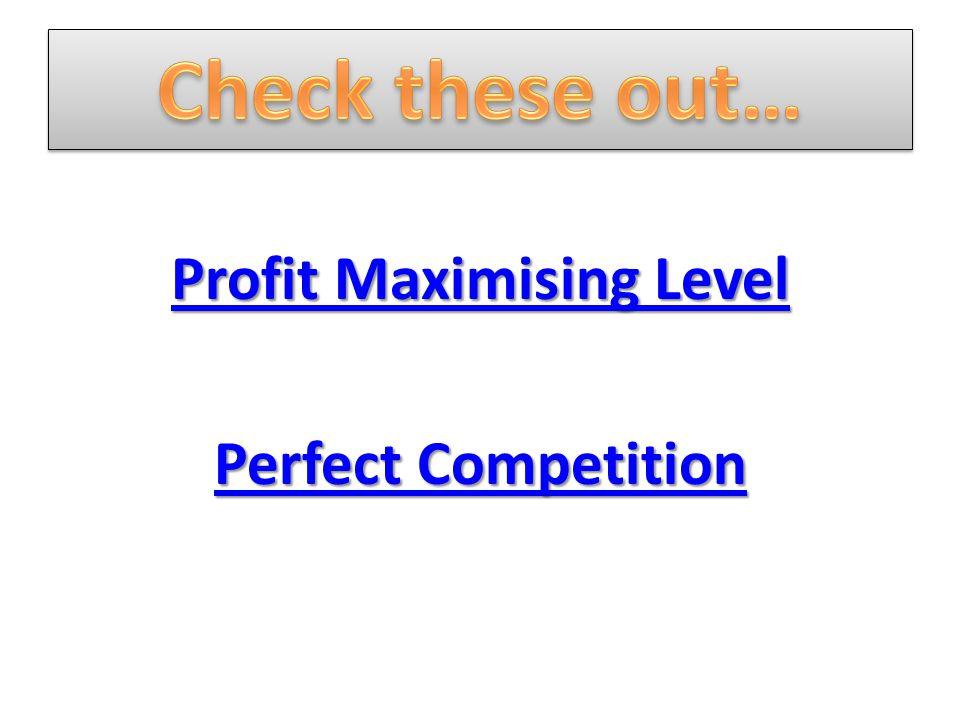 Profit Maximising Level Profit Maximising Level Perfect Competition Perfect Competition
