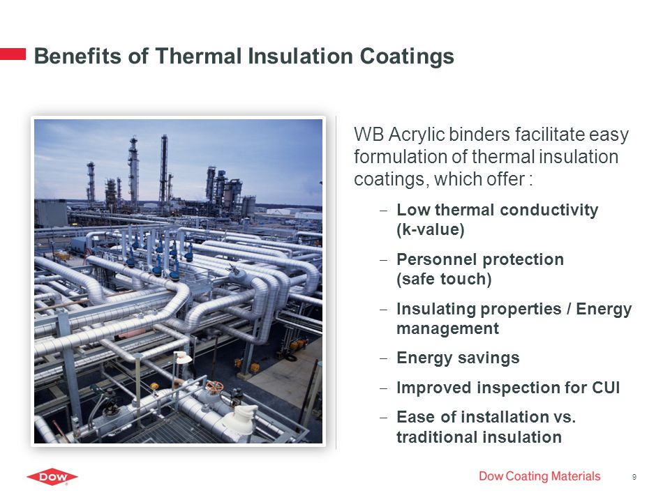 Benefits of Thermal Insulation Coatings WB Acrylic binders facilitate easy formulation of thermal insulation coatings, which offer : ‒ Low thermal conductivity (k-value) ‒ Personnel protection (safe touch) ‒ Insulating properties / Energy management ‒ Energy savings ‒ Improved inspection for CUI ‒ Ease of installation vs.