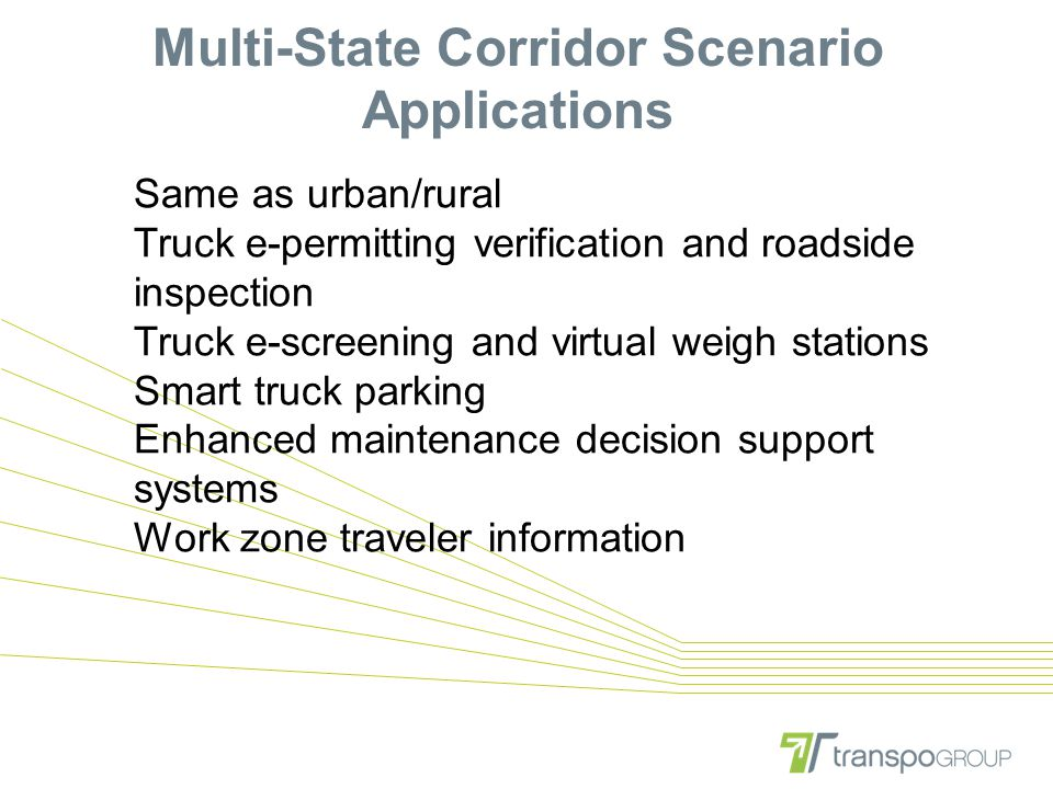 Multi-State Corridor Scenario Applications Same as urban/rural Truck e-permitting verification and roadside inspection Truck e-screening and virtual weigh stations Smart truck parking Enhanced maintenance decision support systems Work zone traveler information