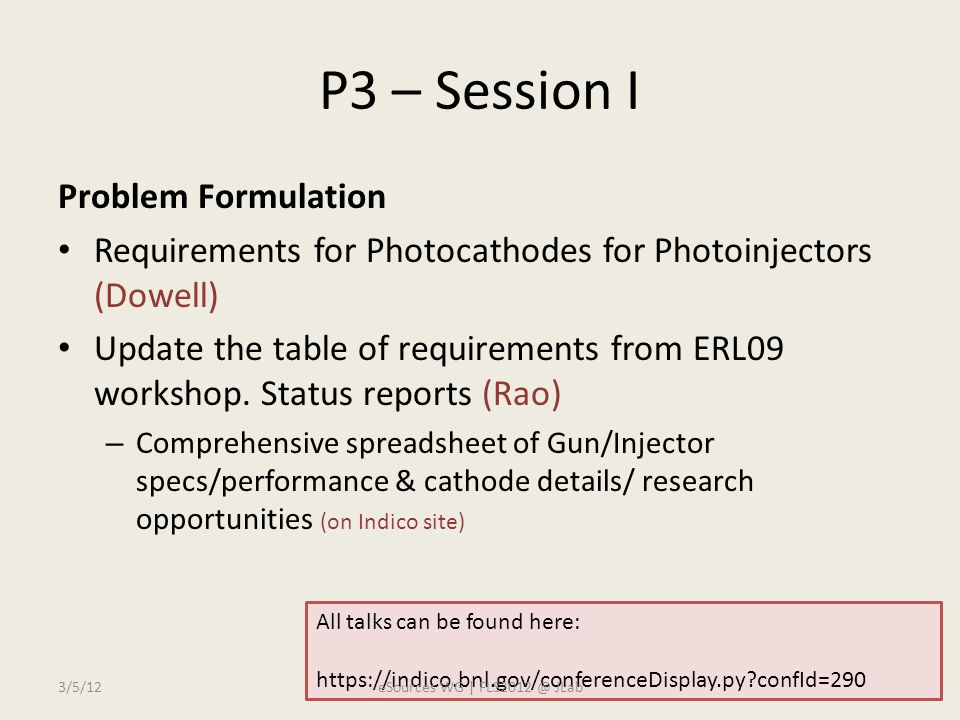P3 – Session I Problem Formulation Requirements for Photocathodes for Photoinjectors (Dowell) Update the table of requirements from ERL09 workshop.