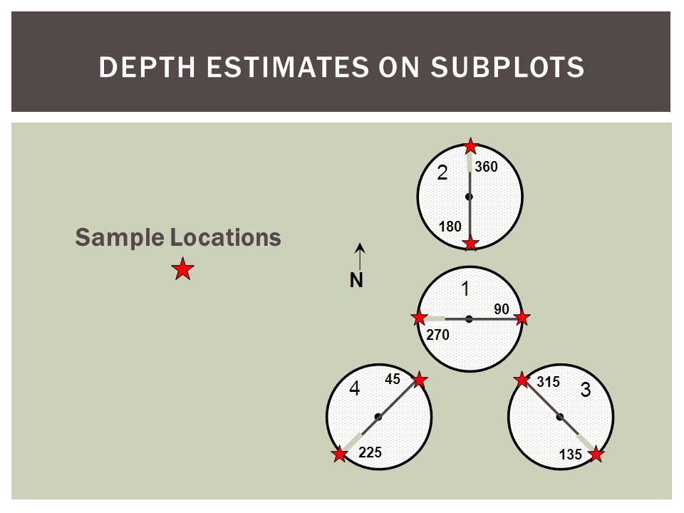DEPTH ESTIMATES ON SUBPLOTS Sample Locations