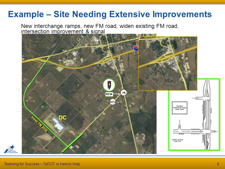 Teaming for Success – TxDOT is here to help4 Example – Site Needing Extensive Improvements New interchange ramps, new FM road, widen existing FM road, intersection improvement & signal (now) FM 3538 NEW DC