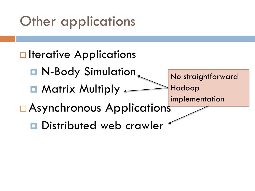  Iterative Applications  N-Body Simulation  Matrix Multiply  Asynchronous Applications  Distributed web crawler ‏ Other applications No straightforward Hadoop implementation