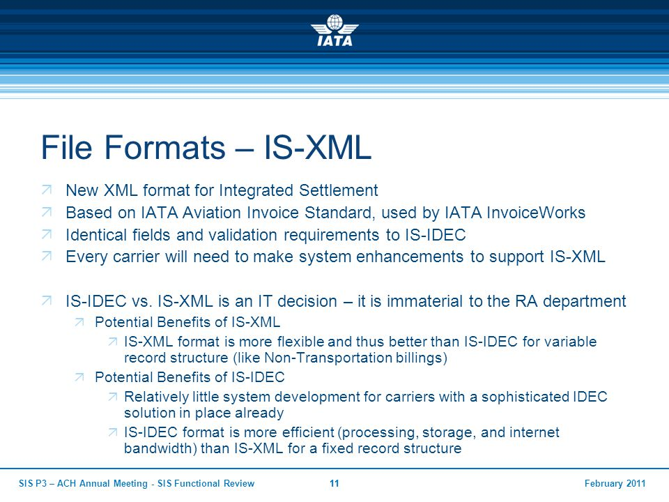 February 2011SIS P3 – ACH Annual Meeting - SIS Functional Review11 File Formats – IS-XML  New XML format for Integrated Settlement  Based on IATA Av