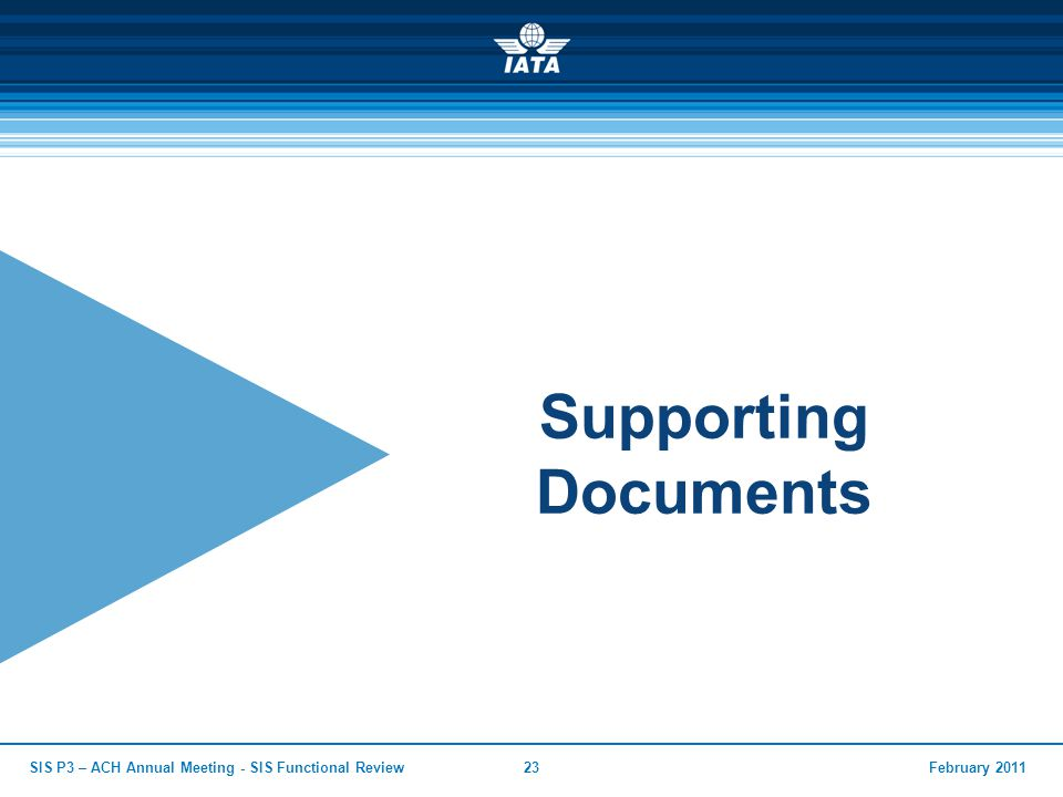 February 2011SIS P3 – ACH Annual Meeting - SIS Functional Review23 Supporting Documents
