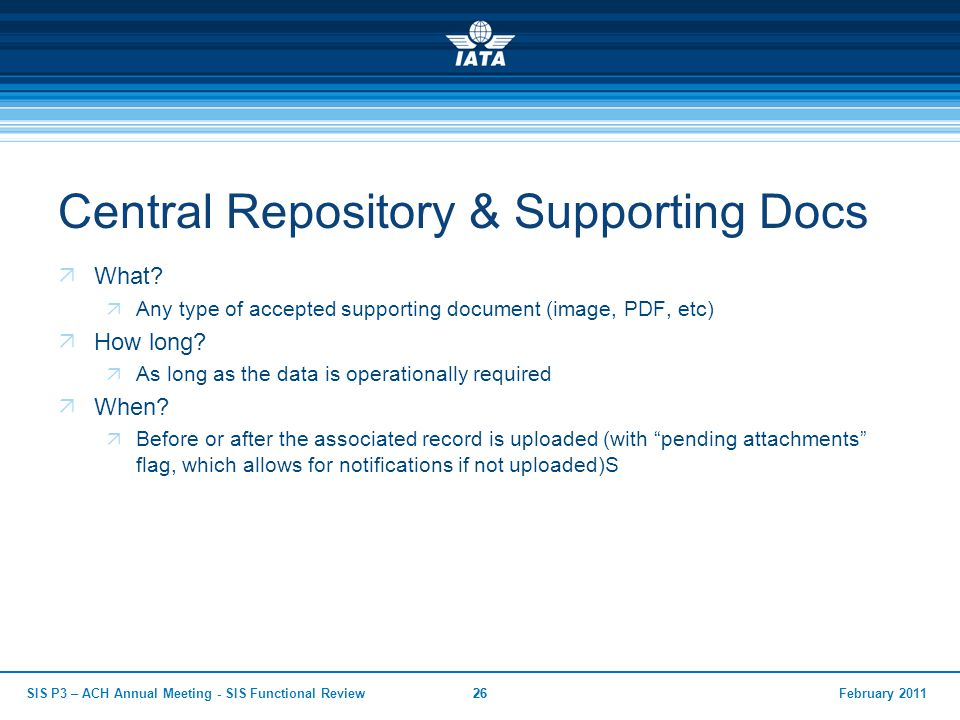 February 2011SIS P3 – ACH Annual Meeting - SIS Functional Review26 Central Repository & Supporting Docs  What?  Any type of accepted supporting docu