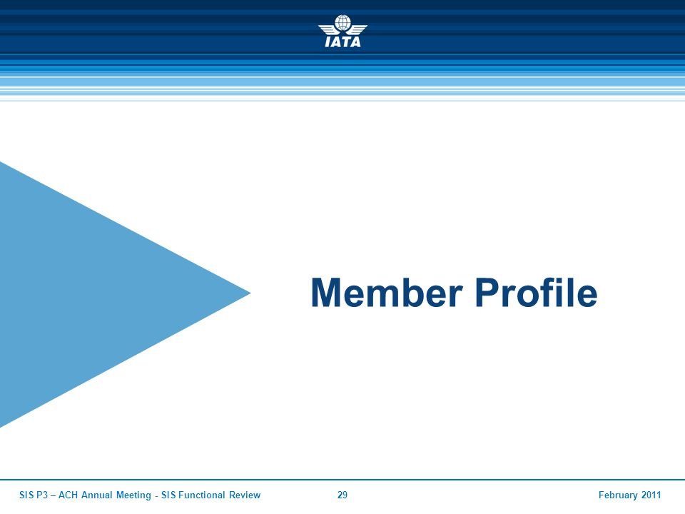 February 2011SIS P3 – ACH Annual Meeting - SIS Functional Review29 Member Profile