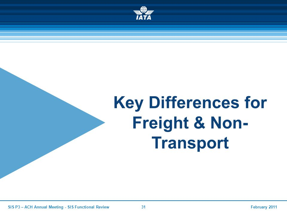 February 2011SIS P3 – ACH Annual Meeting - SIS Functional Review31 Key Differences for Freight & Non- Transport
