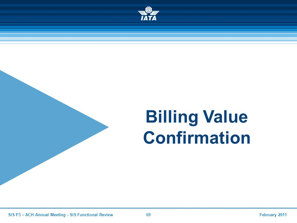 February 2011SIS P3 – ACH Annual Meeting - SIS Functional Review69 Billing Value Confirmation