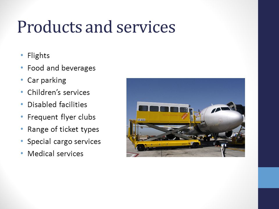 Products and services Flights Food and beverages Car parking Children's services Disabled facilities Frequent flyer clubs Range of ticket types Specia