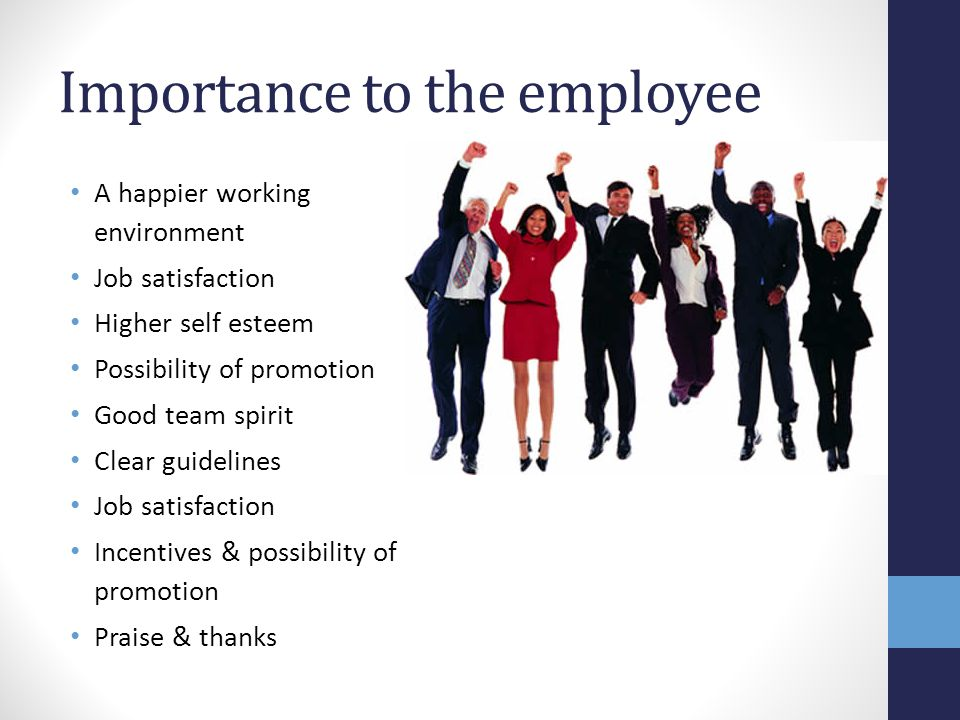 A happier working environment Job satisfaction Higher self esteem Possibility of promotion Good team spirit Clear guidelines Job satisfaction Incentiv