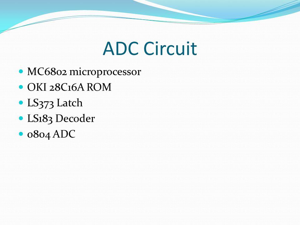 ADC Circuit MC6802 microprocessor OKI 28C16A ROM LS373 Latch LS183 Decoder 0804 ADC