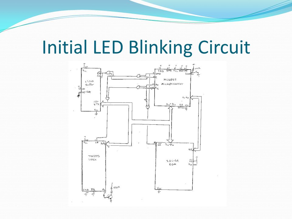 Initial LED Blinking Circuit Code LATCH = $$7FFF.area MAIN (ABS).org$$0100 main:LDAA#$$00 LDS#$$007F m2:INCA BSRpause STAALATCH BRAm2 pause:LDAB#$$FF p2:DECB BEQp3 BRAp2 p3:RTS